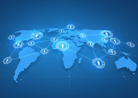 Foto de global business, social network, mass media and technology concept - world map projection with people icons over blue background - Imagen libre de derechos
