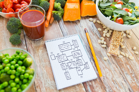 healthy eating, vegetarian food, advertisement and culinary concept - close up of ripe vegetables and notebook with scheme on wooden table