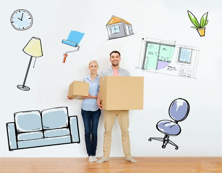 Foto de home, people, repair and real estate concept - happy couple holding cardboard boxes and moving to new place over interior doodles background - Imagen libre de derechos