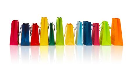 Photo pour sale, consumerism, advertisement and retail concept - many colorful shopping bags - image libre de droit