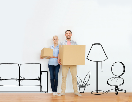 Photo pour home, people, repair and real estate concept - happy couple holding cardboard boxes and moving to new place over furniture cartoon or sketch background - image libre de droit