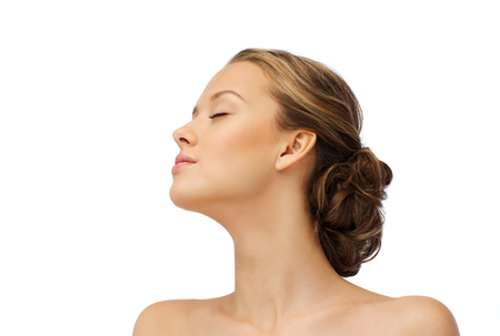 Photo for beauty, people and health concept - young woman face with closed eyes and shoulders side view - Royalty Free Image
