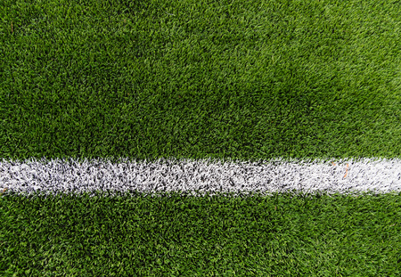 Photo pour sport and game concept - close up of football field with line and grass - image libre de droit