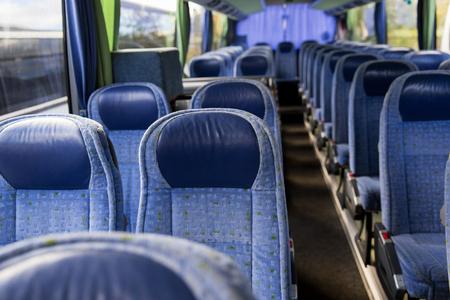 Photo pour transport, tourism, road trip and equipment concept - travel bus interior - image libre de droit
