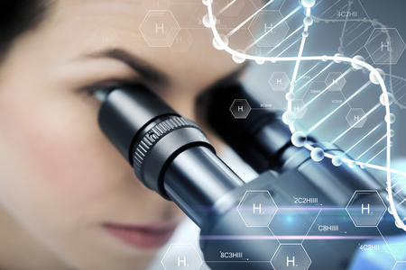 science, chemistry, technology, biology and people concept - close up of female scientist looking to microscope in clinical laboratory over hydrogen chemical formula and dna molecule structure