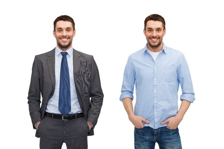 business and casual clothing concept - same man in different style clothes