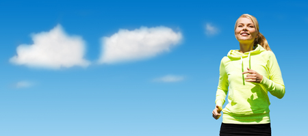 Photo pour sport, fitness, exercising, people and lifestyle concept - female runner jogging over blue sky and clouds background - image libre de droit