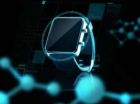modern technology, science, biology and object concept - close up of black smart watch over virtual screen and molecular projections