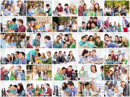 Foto de education concept - collage with many pictures of students in college, university or high school - Imagen libre de derechos