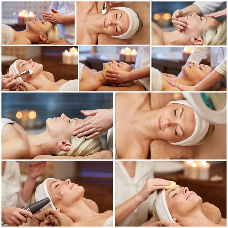 Photo pour beauty, healthy lifestyle and relaxation concept - collage of many pictures with beautiful young woman having facial massage and treatments by cosmetologist at spa salon - image libre de droit