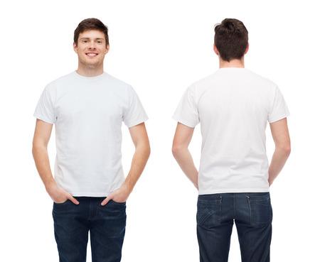 Foto de t-shirt design and people concept - smiling young man in blank white t-shirt - Imagen libre de derechos
