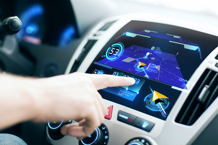 Photo pour transport, destination, modern technology and people concept - male hand searching for route using navigation system on car dashboard screen - image libre de droit