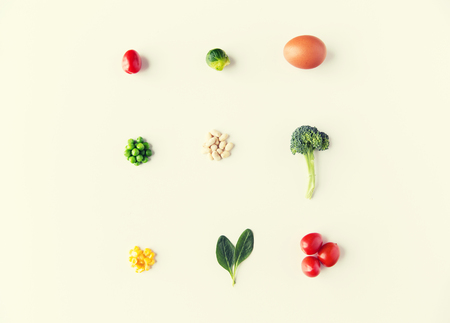 Foto für healthy eating, vegetarian food, diet and culinary concept - close up of ripe vegetables and food over white - Lizenzfreies Bild