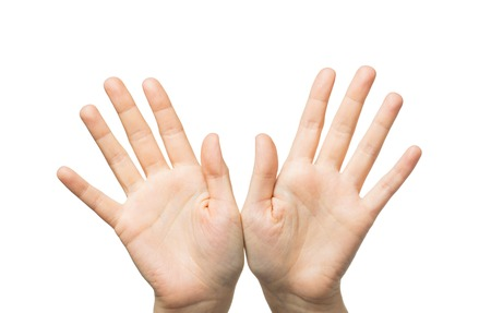 Photo pour gesture, people and body parts concept - close up of two hands showing palms and fingers - image libre de droit