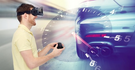 Photo pour 3d technology, virtual reality, entertainment and people concept - happy man in virtual reality headset with game controller gamepad playing car racing game over tachometer and street race background - image libre de droit