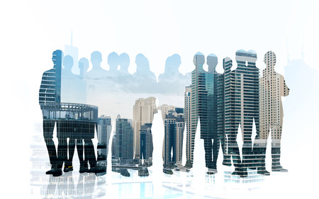 Photo for business, teamwork and people concept - business people silhouettes over city background with double exposure effect - Royalty Free Image