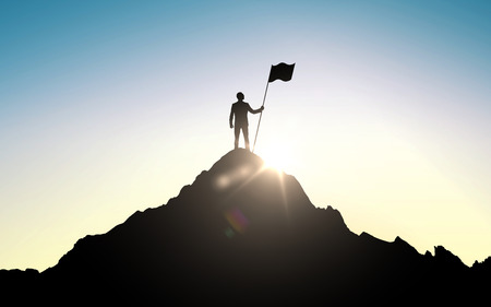 Foto de business, success, leadership, achievement and people concept - silhouette of businessman with flag on mountain top over sky and sun light background - Imagen libre de derechos