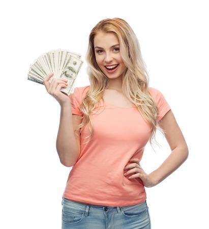 Photo pour money, finances, investment, saving and people concept - happy young woman with dollar cash money - image libre de droit