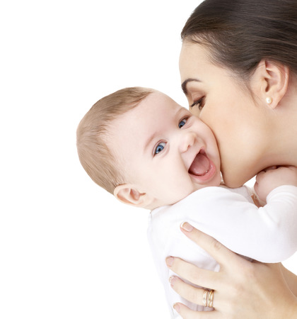 Photo pour family, parenting and child care concept - happy mother kissing adorable baby - image libre de droit