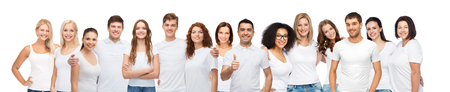 Photo pour diverse, gesture and people concept - group of happy different body size and age and gender people in white t-shirts hugging showing thumbs up - image libre de droit
