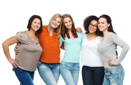 friendship, fashion, body positive, diverse and people concept - group of happy different size women in casual clothes