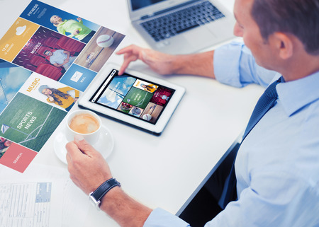 Photo pour business, people, mass media and technology concept - businessman with tablet pc reading internet news and drinking coffee in office - image libre de droit