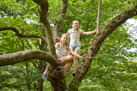 Photo pour friendship, childhood, leisure and people concept - two happy girls climbing up tree and having fun in summer park - image libre de droit