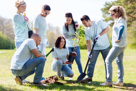 Photo pour volunteering, charity, people and ecology concept - group of happy volunteers planting tree and digging hole with shovel in park - image libre de droit