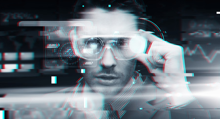 Photo pour cyberspace, augmented reality, technology and people - man in 3d glasses with virtual screens over glitch effect - image libre de droit