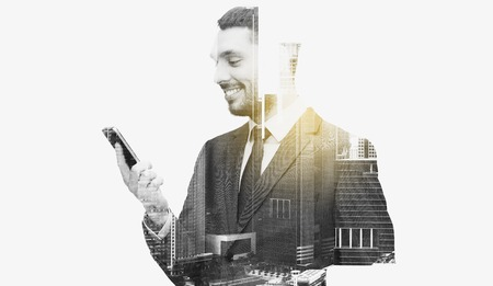 Photo for business, technology and people concept - smiling businessman texting on smartphone over city buildings and double exposure effect - Royalty Free Image