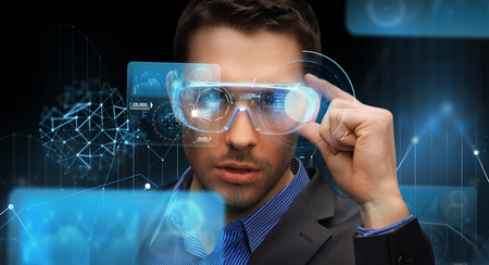 Photo pour augmented reality, technology, business and people concept -businessman in virtual glasses looking at screen projections over dark background - image libre de droit