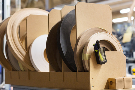 veneer or edge band tapes at woodworking factory