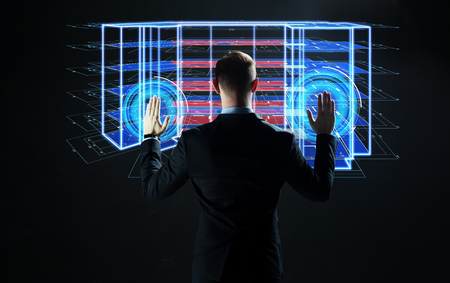 businessman with virtual construction project