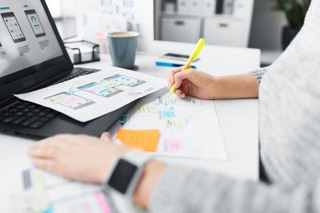 Photo pour web designer working on user interface at office - image libre de droit