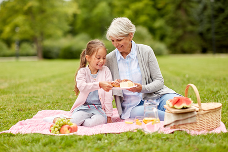 Photo pour grandmother and granddaughter at picnic in park - image libre de droit