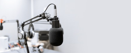 Photo for microphone at recording studio or radio station - Royalty Free Image