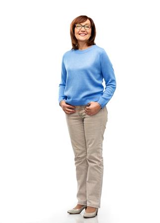 Foto für senior woman in glasses over white background - Lizenzfreies Bild