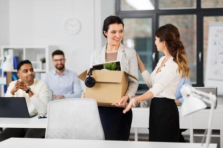 Photo pour new female employee meeting colleagues at office - image libre de droit