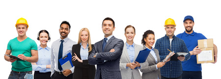 Photo pour Group of office people and manual workers - image libre de droit