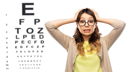 Photo pour stressed woman in glasses over eye test chart - image libre de droit