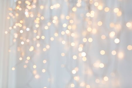 Photo for christmas garland lights over grey background - Royalty Free Image