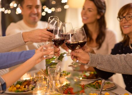 Photo pour happy family having dinner party at home - image libre de droit