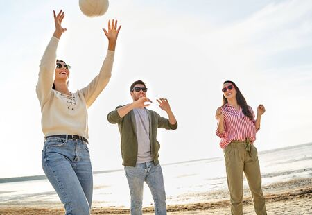 Photo for friends playing volleyball on beach in summer - Royalty Free Image