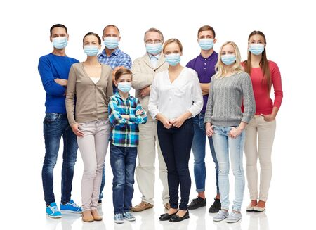 Photo pour group of people of different age in medical masks - image libre de droit