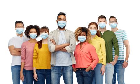 Photo pour people in medical masks for protection from virus - image libre de droit
