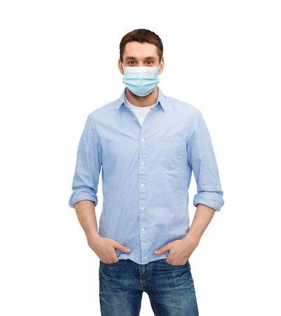 Photo pour young man in protective medical mask - image libre de droit