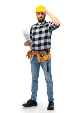 Photo pour male worker or builder in helmet with blueprint - image libre de droit