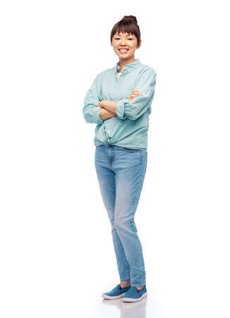 Photo for happy asian woman with crossed arms - Royalty Free Image