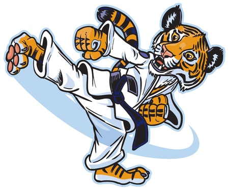 Vector cartoon of a cute young tiger cub martial artist executing a spinning back kick.