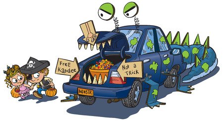 A vector clip art cartoon of two kids warily approching a car decorated for a trunk or treat event on Halloween. The car is decorated to look like a monster that eats unwary children.